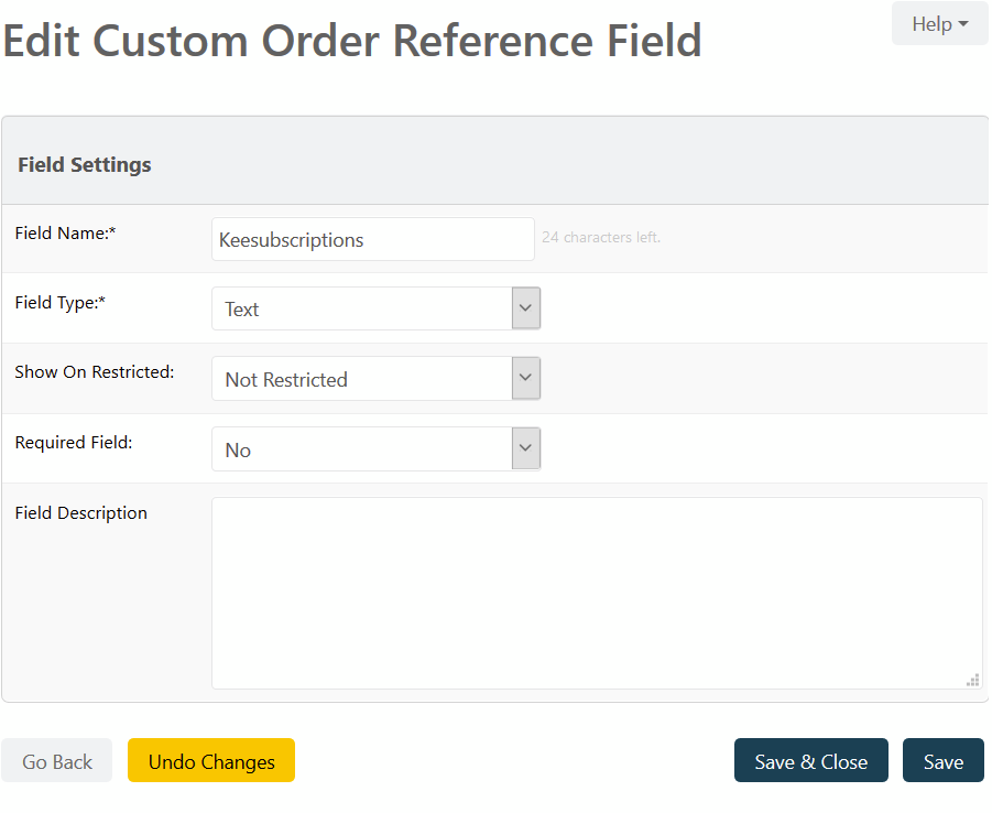 Edit Custom Order Regerance Feild